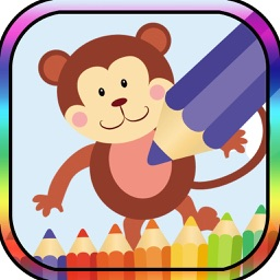Kids Coloring Book monkey and frinds animal