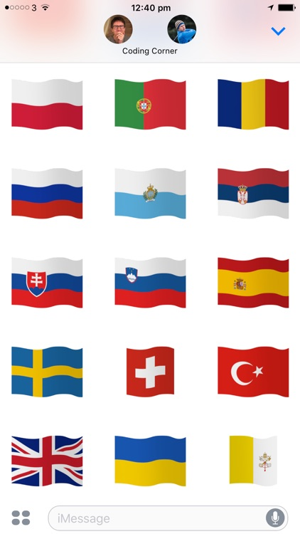 Euro Flags - Animated European flags stickers