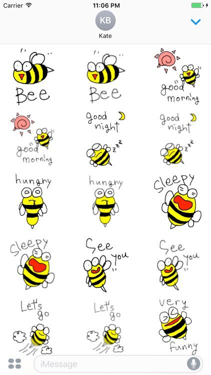 Peet The Little Cute Bee English Sticker