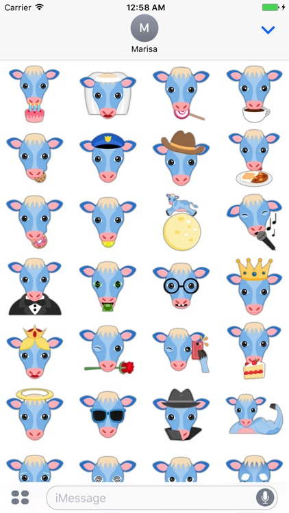 True Blue Cow Emoji Stickers screenshot-4