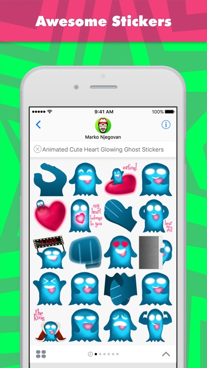 Animated Cute Heart Glowing Ghost stickers