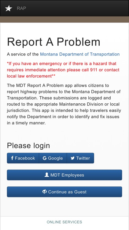 MDT Report A Problem by Montana Department of Transportation