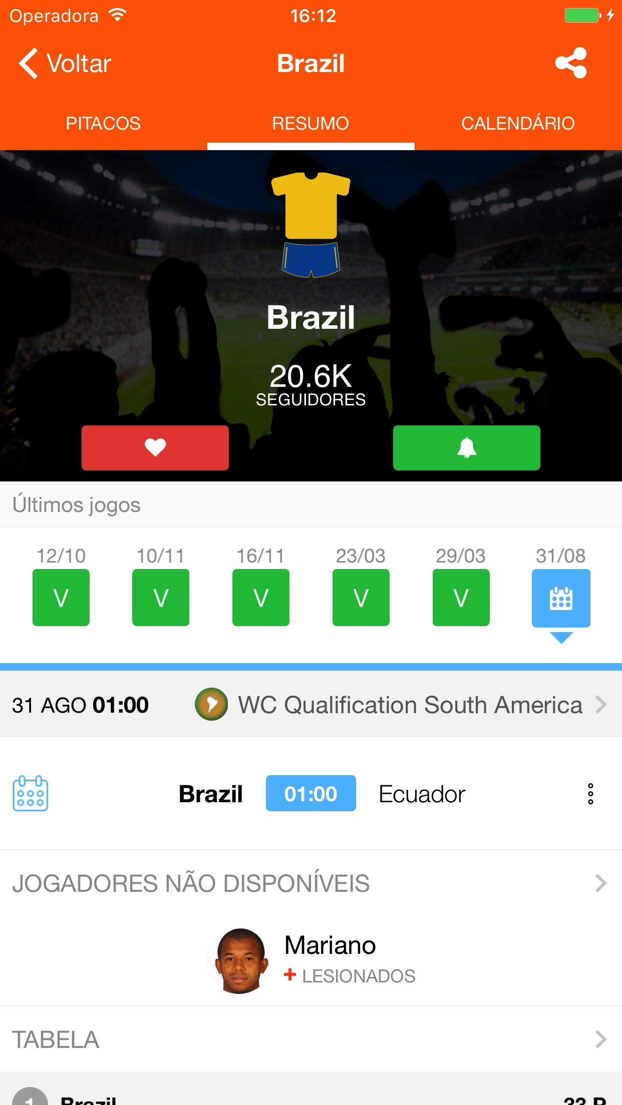 Screenshot do app LiveSoccer - Futebol ao vivo