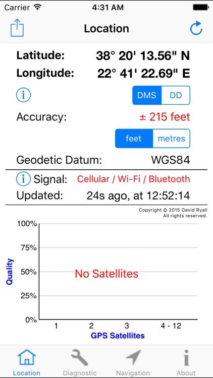 GPS Diagnostic - Satellite Test Tool & Coordinates screenshot-3