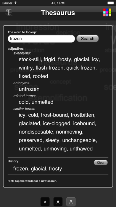 Thesaurus App screenshot one