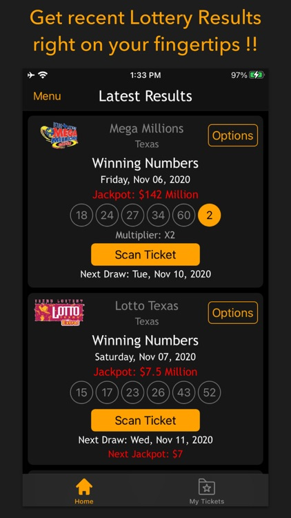 Lottery results-Ticket scanner screenshot-0