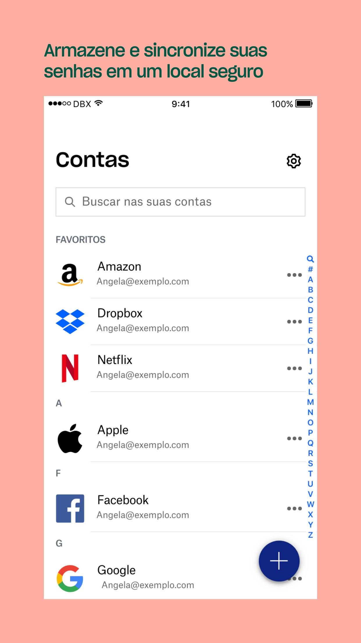 Screenshot do app Dropbox Passwords - Gerente