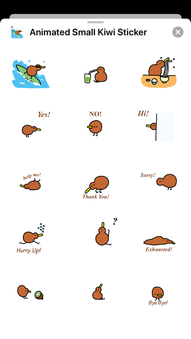 Animated Small Kiwi Sticker screenshot 2