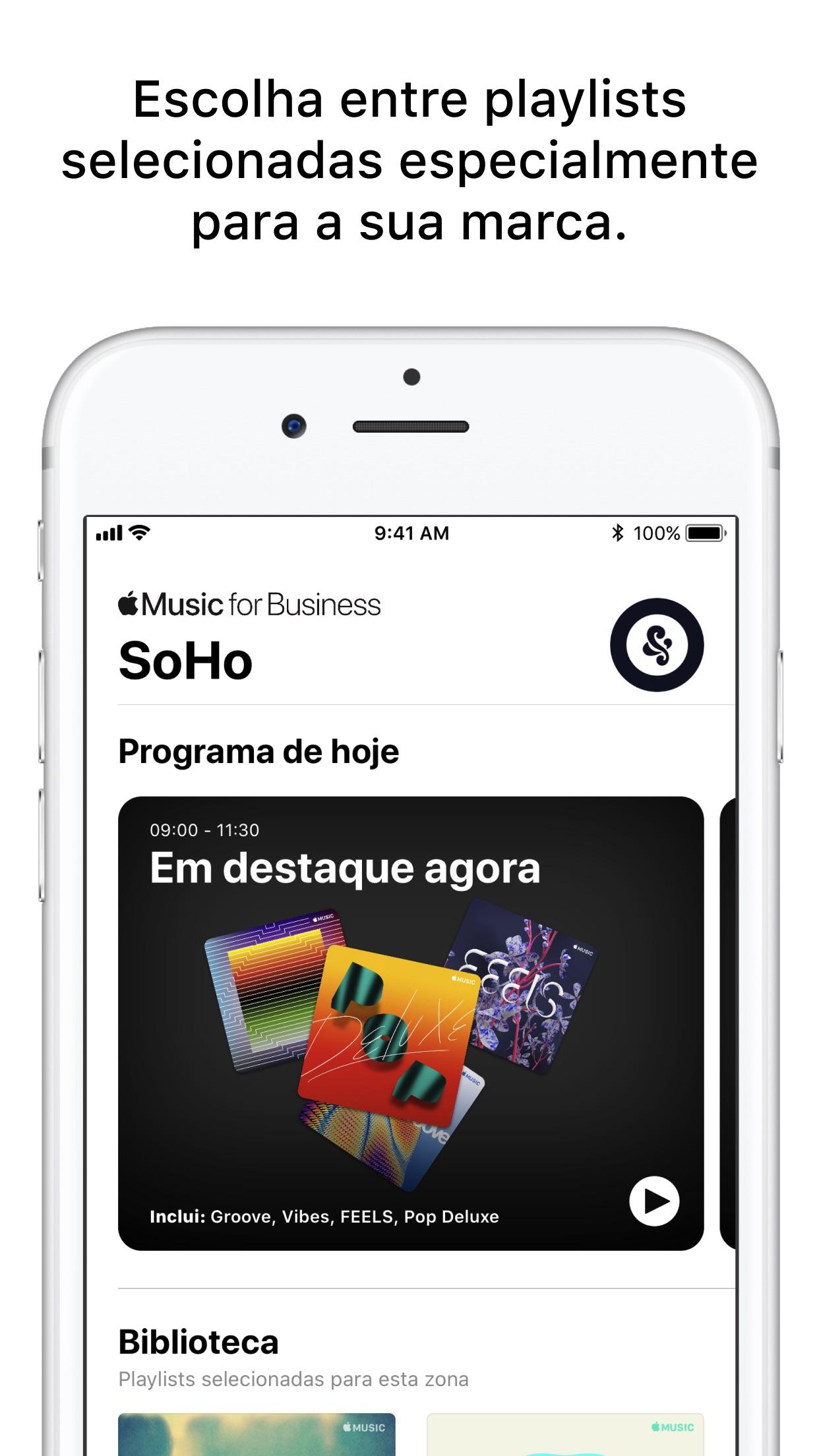 Screenshot do app Apple Music For Business