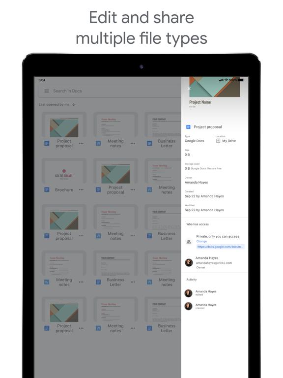 Google Docs iPad captures décran