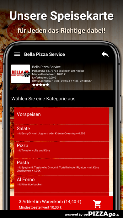 Bella Pizza Service Esslingen screenshot 4