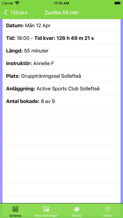 Screenshot of Active Sports Club Passbokning App