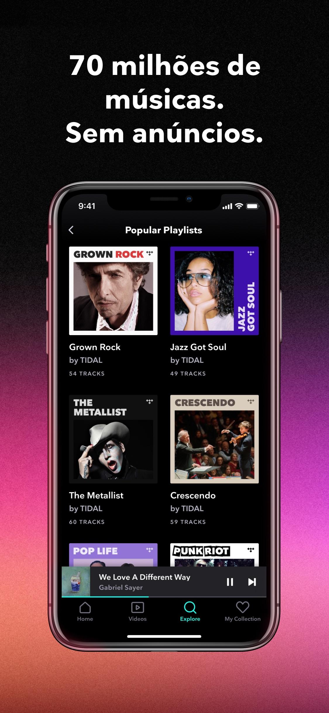 Screenshot do app TIDAL Music