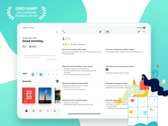 Screenshot #4 pour Grid Diary - Journal, Planner