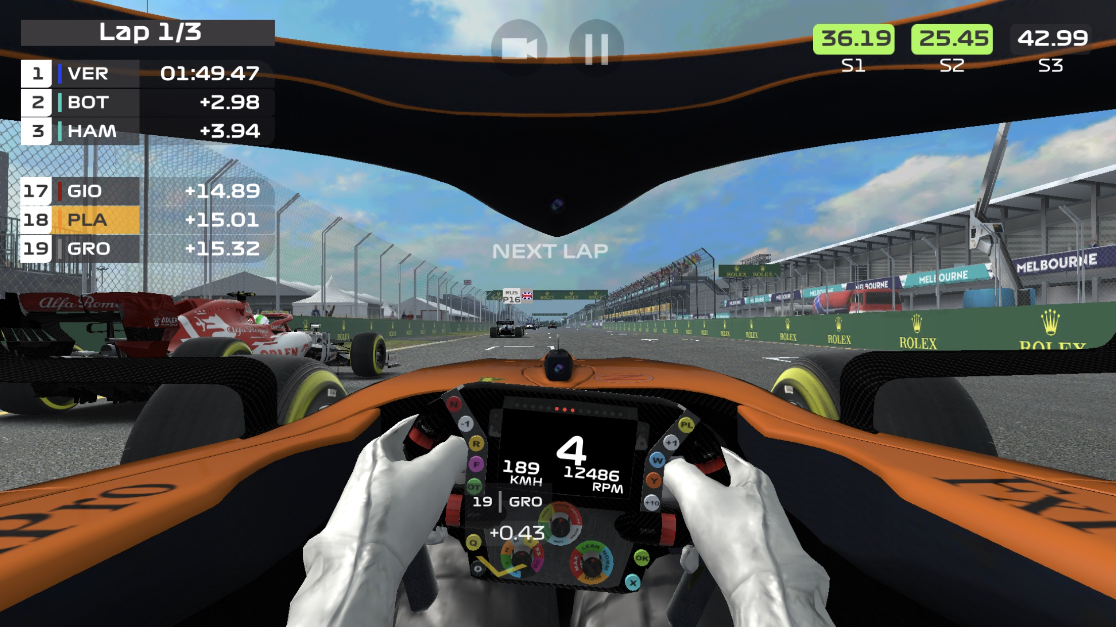 Screenshot do app F1 Mobile Racing