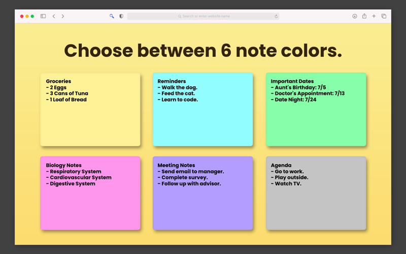 Screenshot of Sticky Notes for Safari