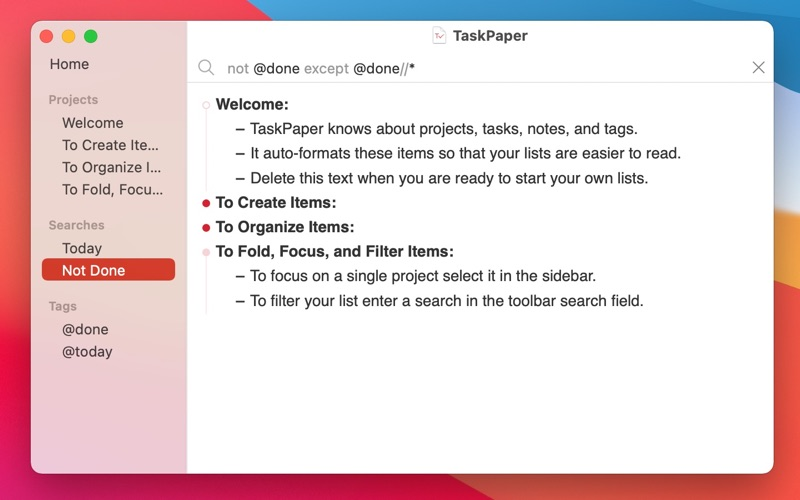 TaskPaper – Plain text to-dos Screenshots