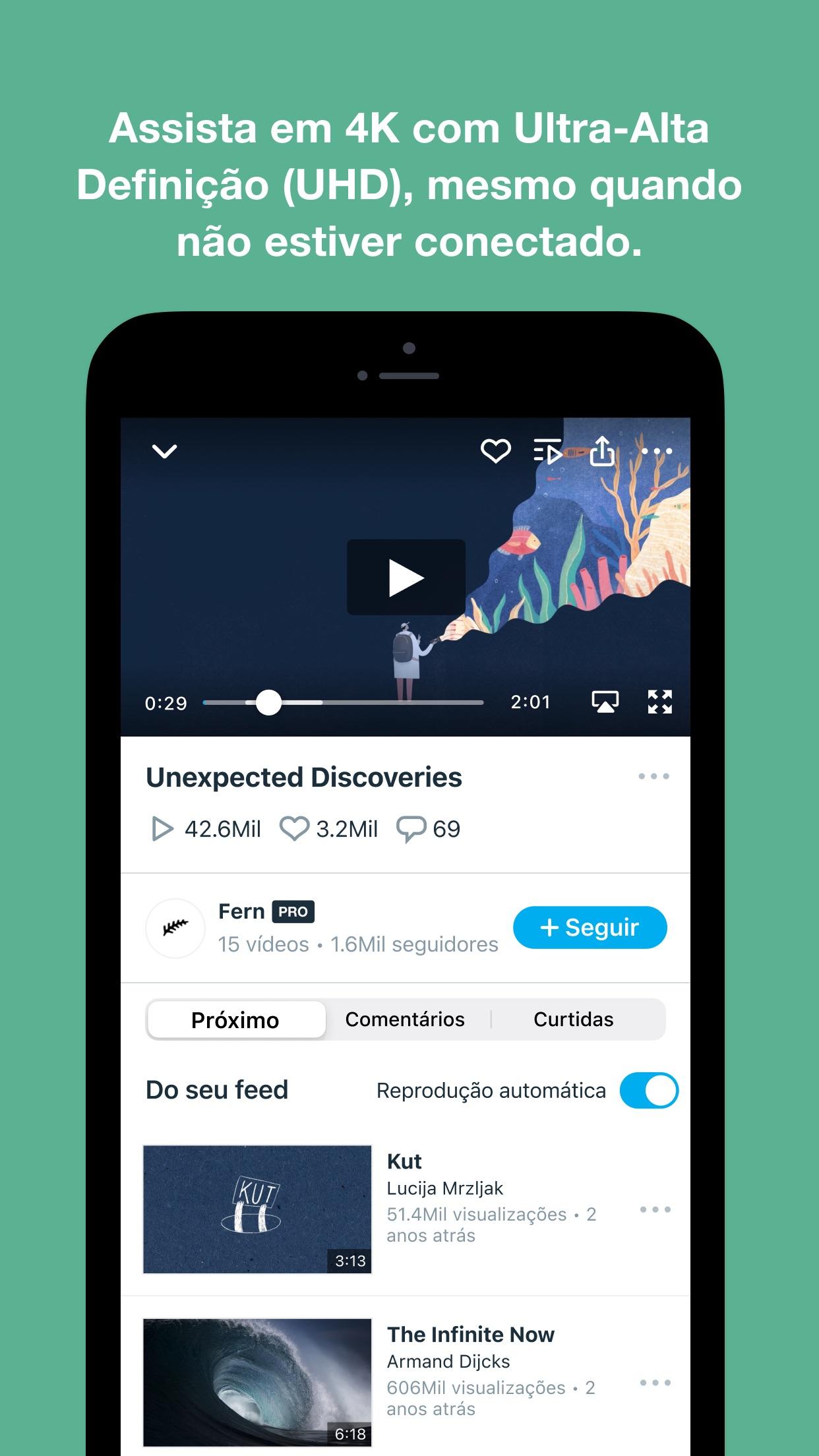 Screenshot do app Vimeo - Vídeos sem Anúncios