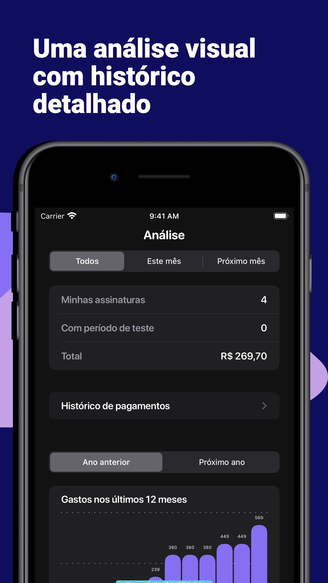 Screenshot do app Subs - subscriptions tracker