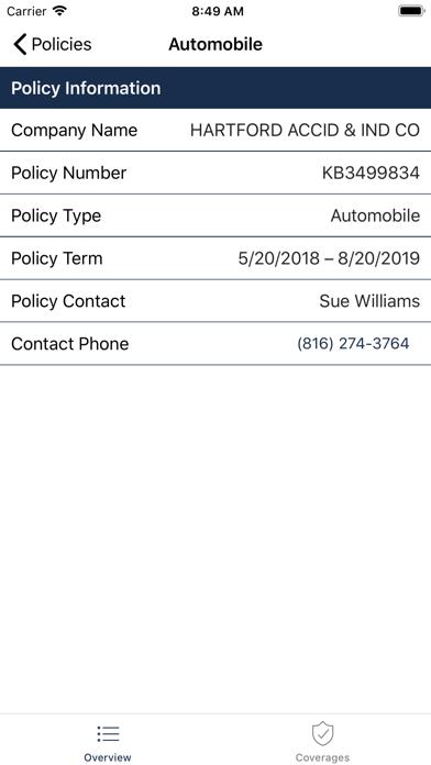 Screenshot of Avery Hall Insurance App