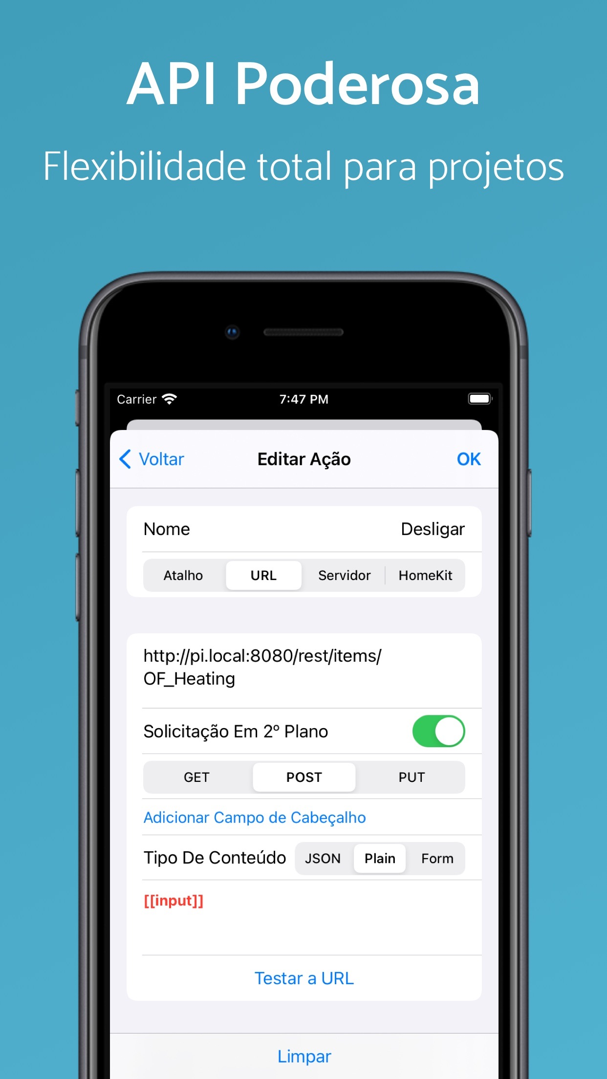 Screenshot do app Pushcut: Automação dos Atalhos