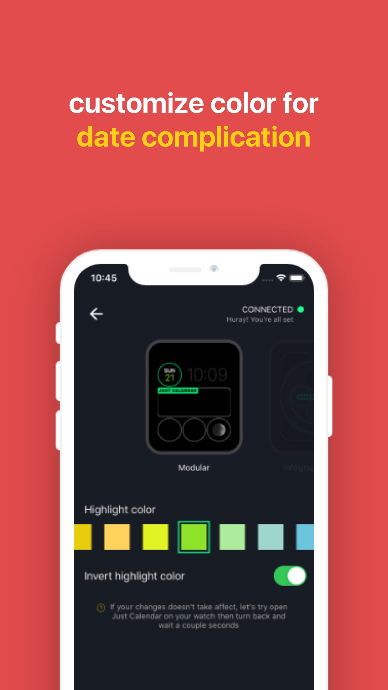 Screenshot do app Just Calendar + Complications