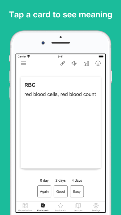 Medical Abbreviation Flashcard Screenshot