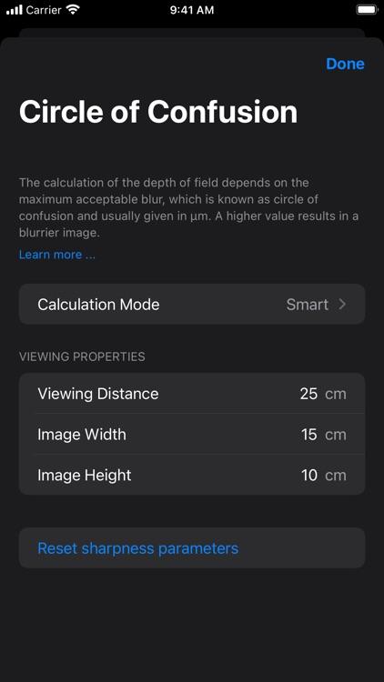 Depth of Field Estimator screenshot-7