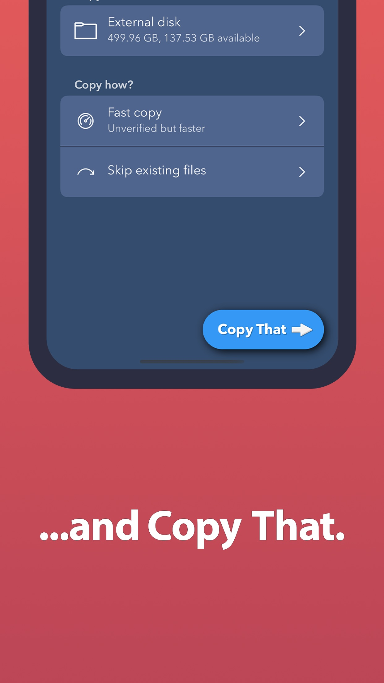 Screenshot do app OWC Copy That