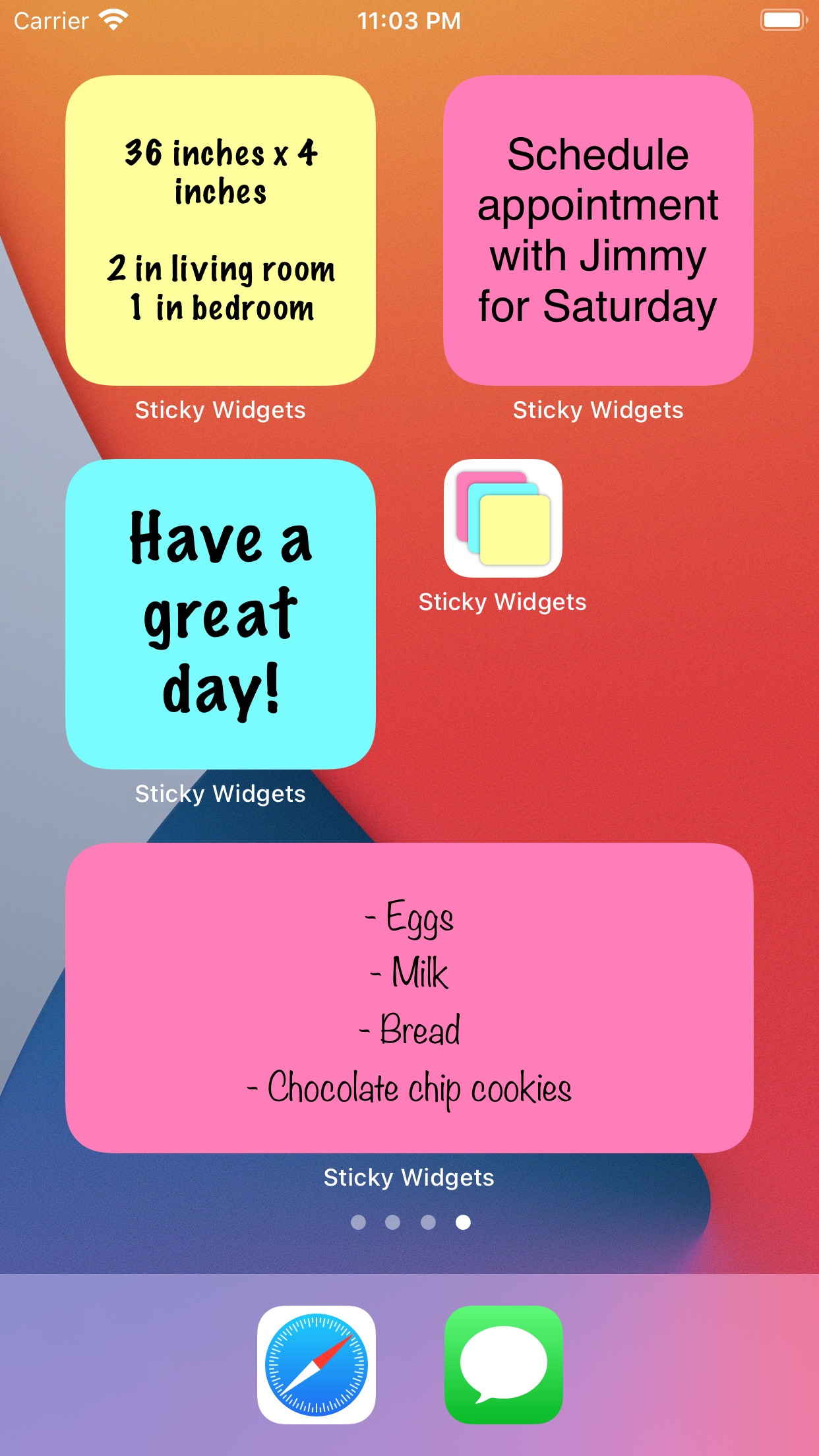 Screenshot do app Sticky Widgets
