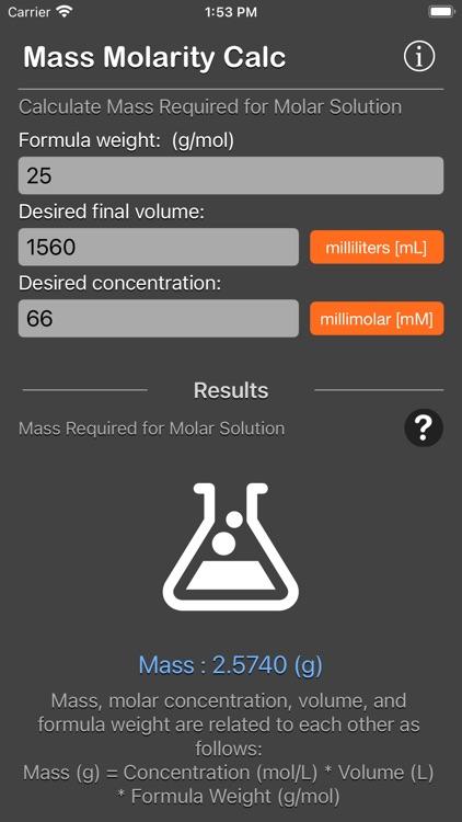 Mass Molarity Calculator screenshot-7