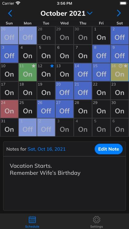 CopApp Shift Calendar Schedule