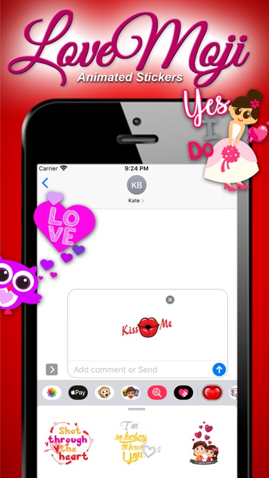 Screenshot of lovemoji Animated Sticker App