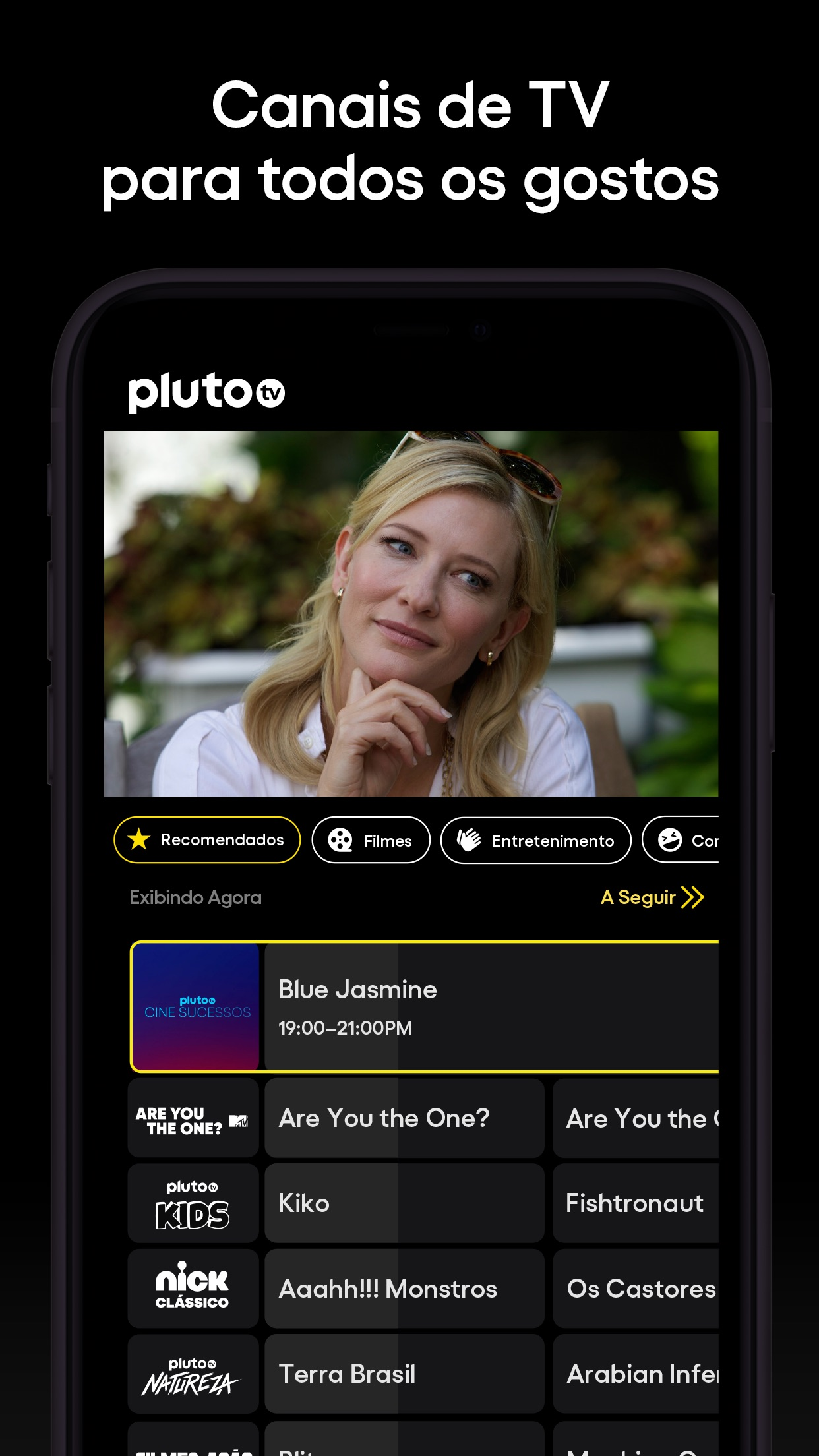 Screenshot do app Pluto TV – TV ao Vivo e Filmes
