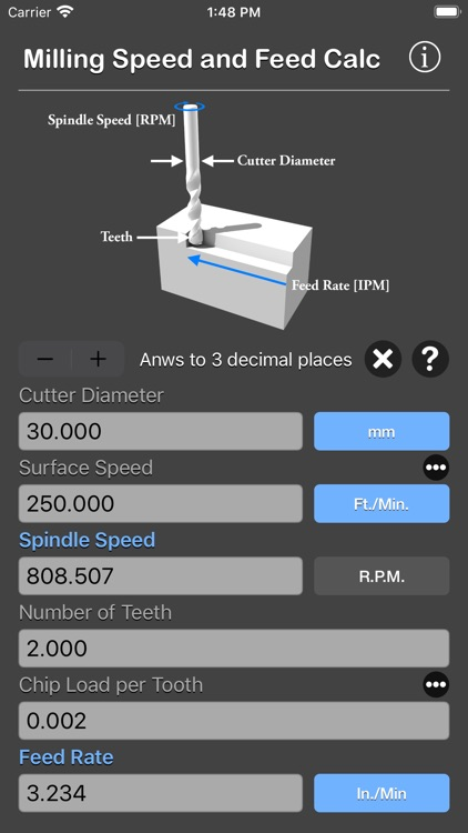 Milling Speed and Feed Calc screenshot-3