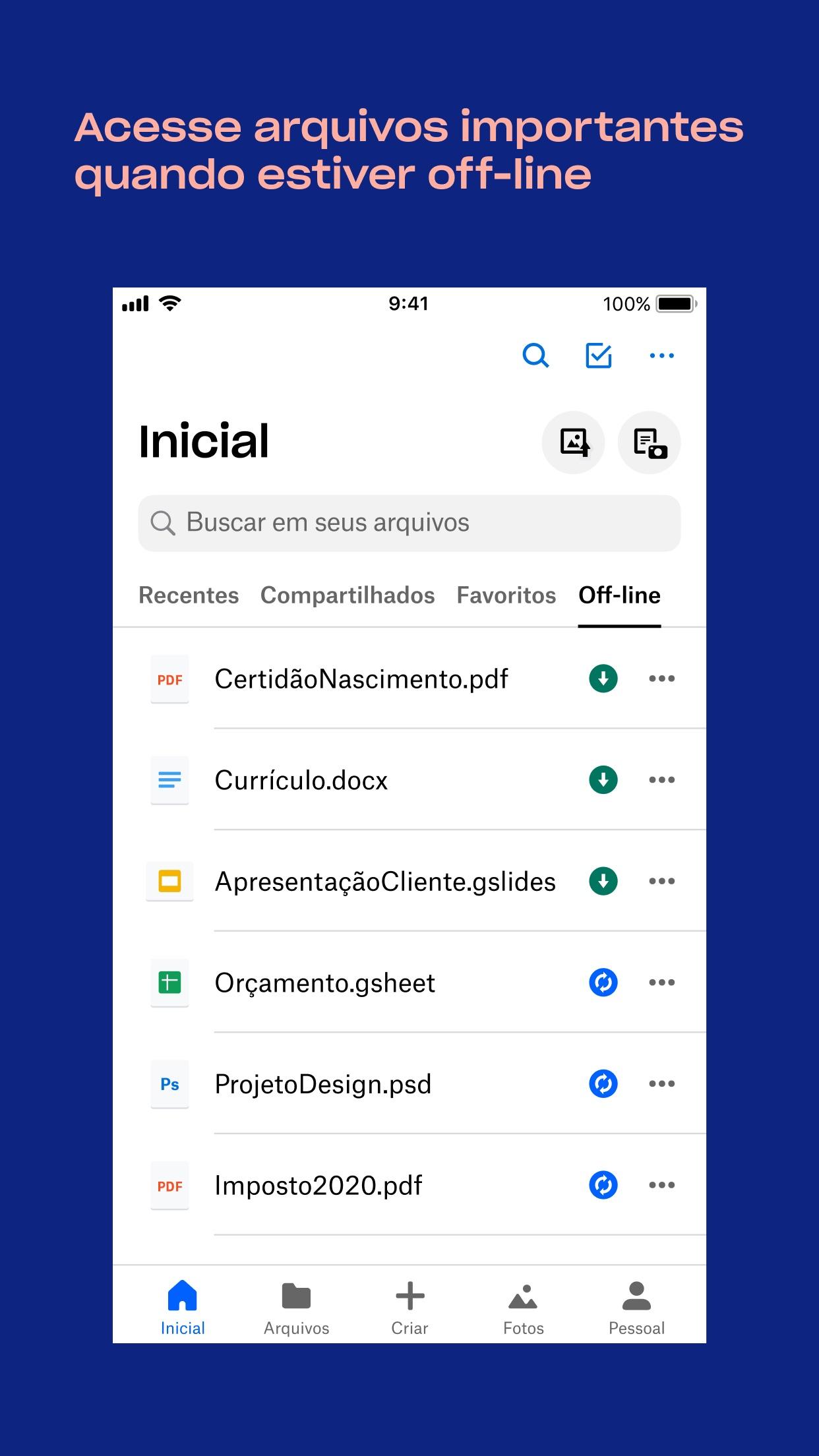 Screenshot do app Dropbox - Salve, compartilhe