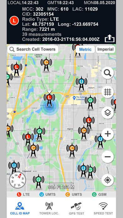 Cell Phone Towers World Map Screenshot