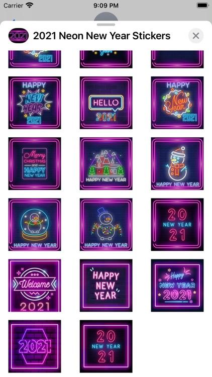 2021 Neon New Year Stickers screenshot-5