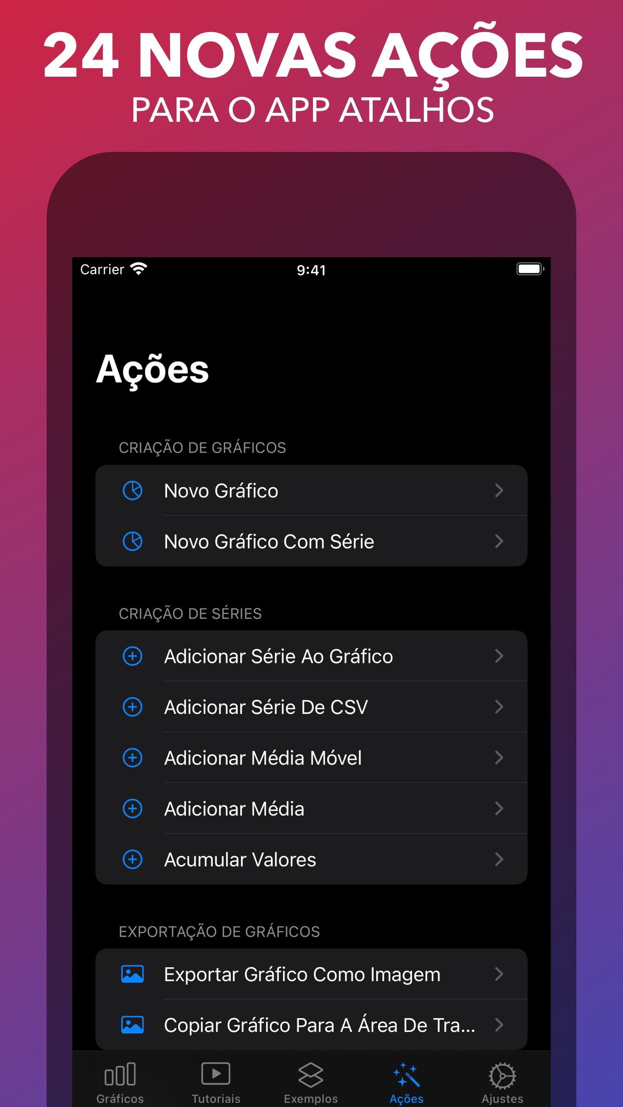 Screenshot do app Charty para Atalhos