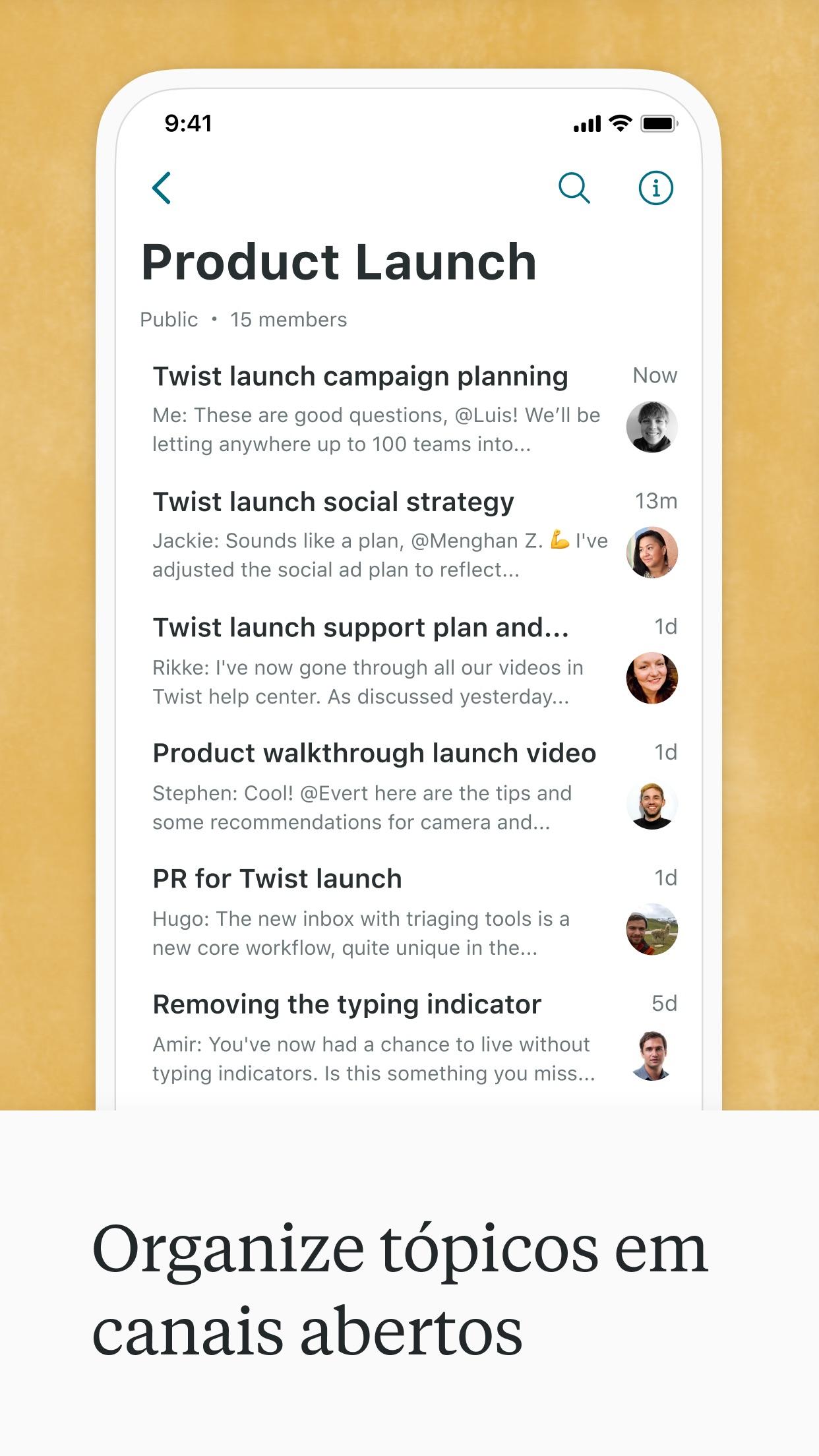 Screenshot do app Twist: mensagens em equipe