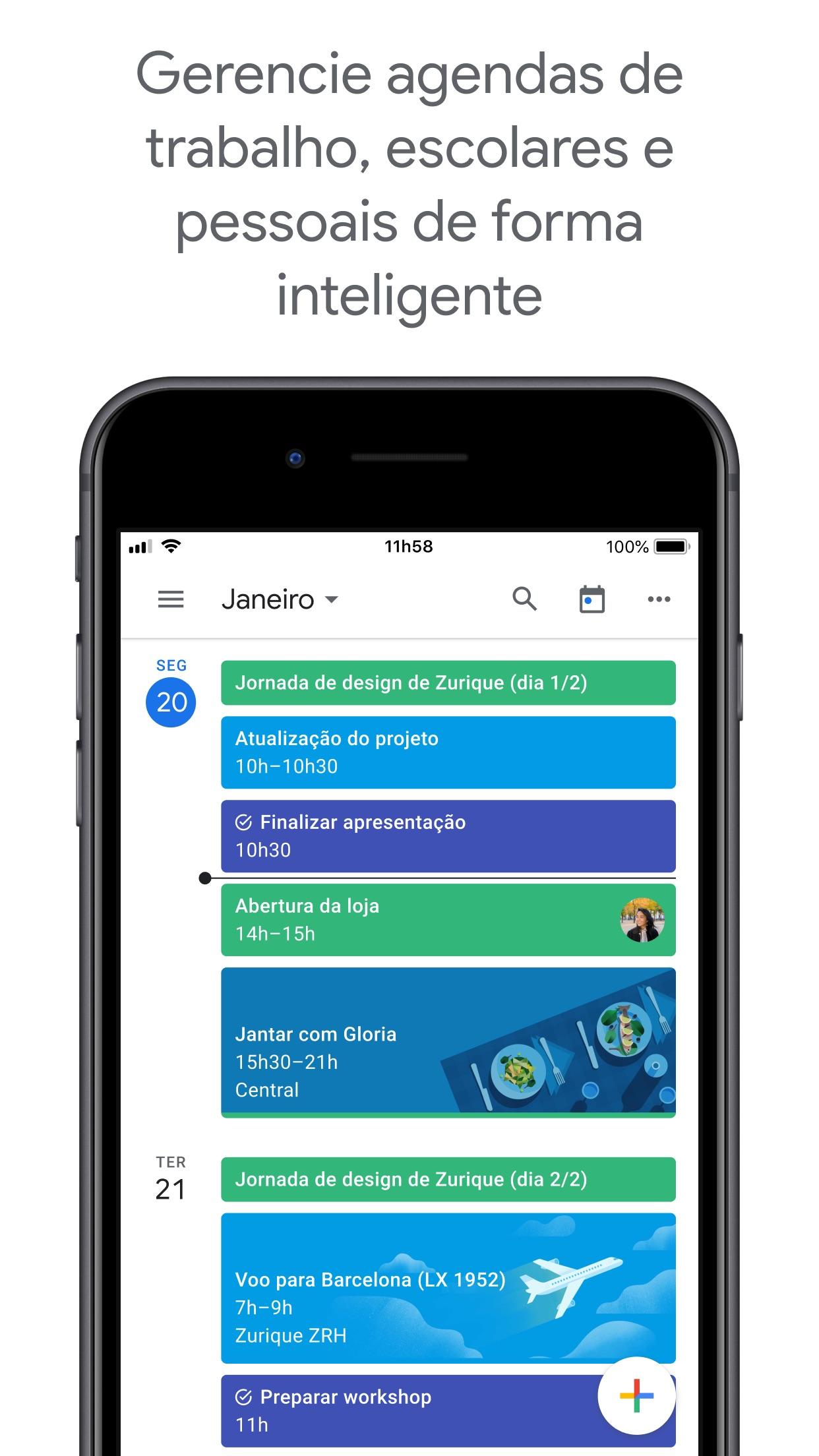 Screenshot do app Google Agenda: Organize-se