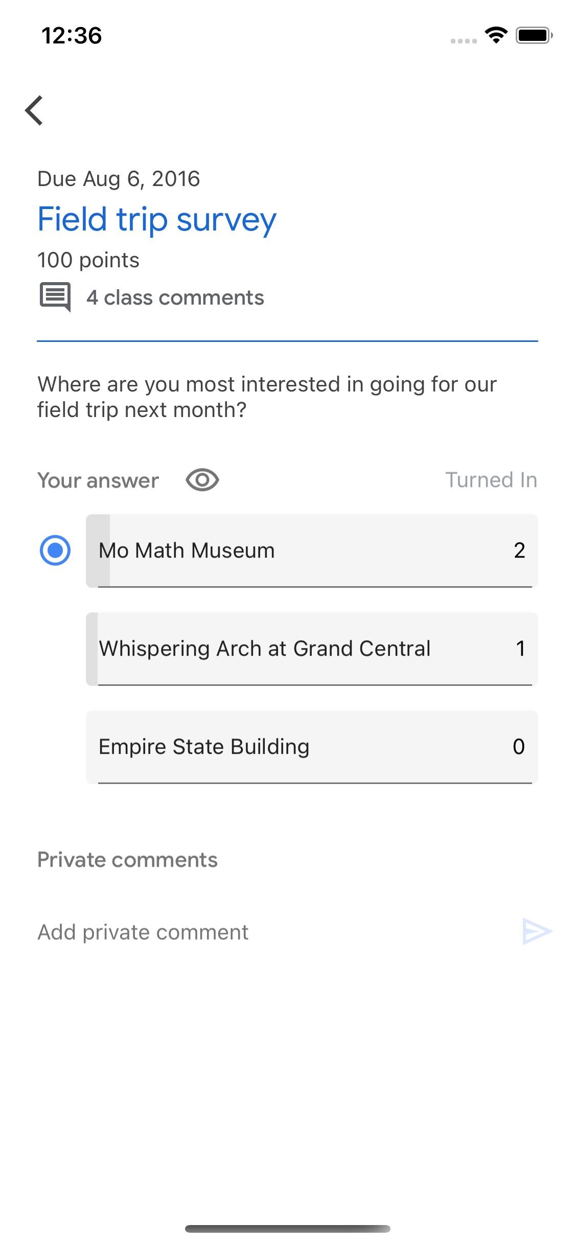 Screenshot do app Google Classroom