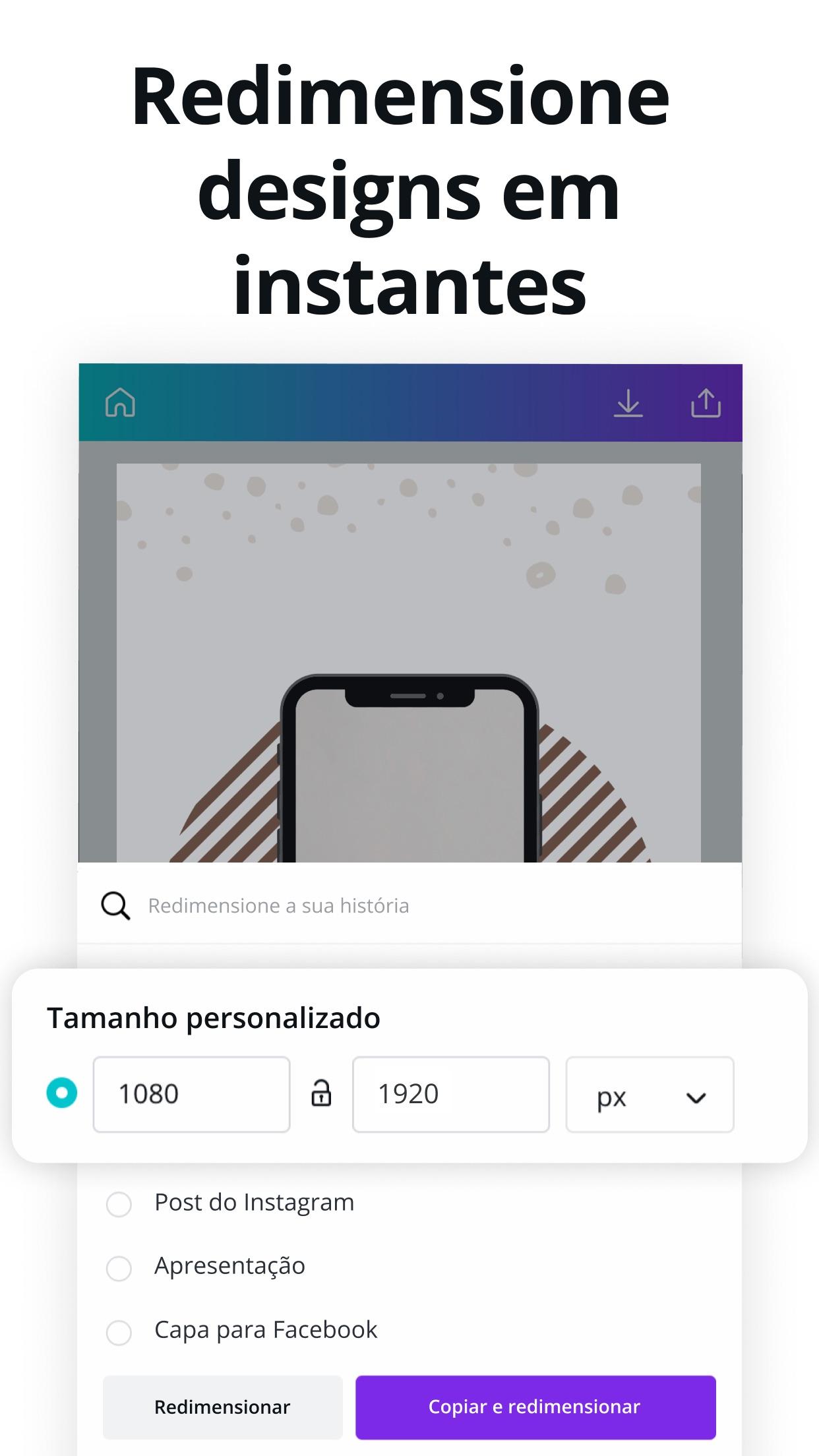 Screenshot do app Canva: Editor de Foto e Vídeo