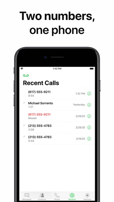 Second Line 2nd Phone Number Screenshot