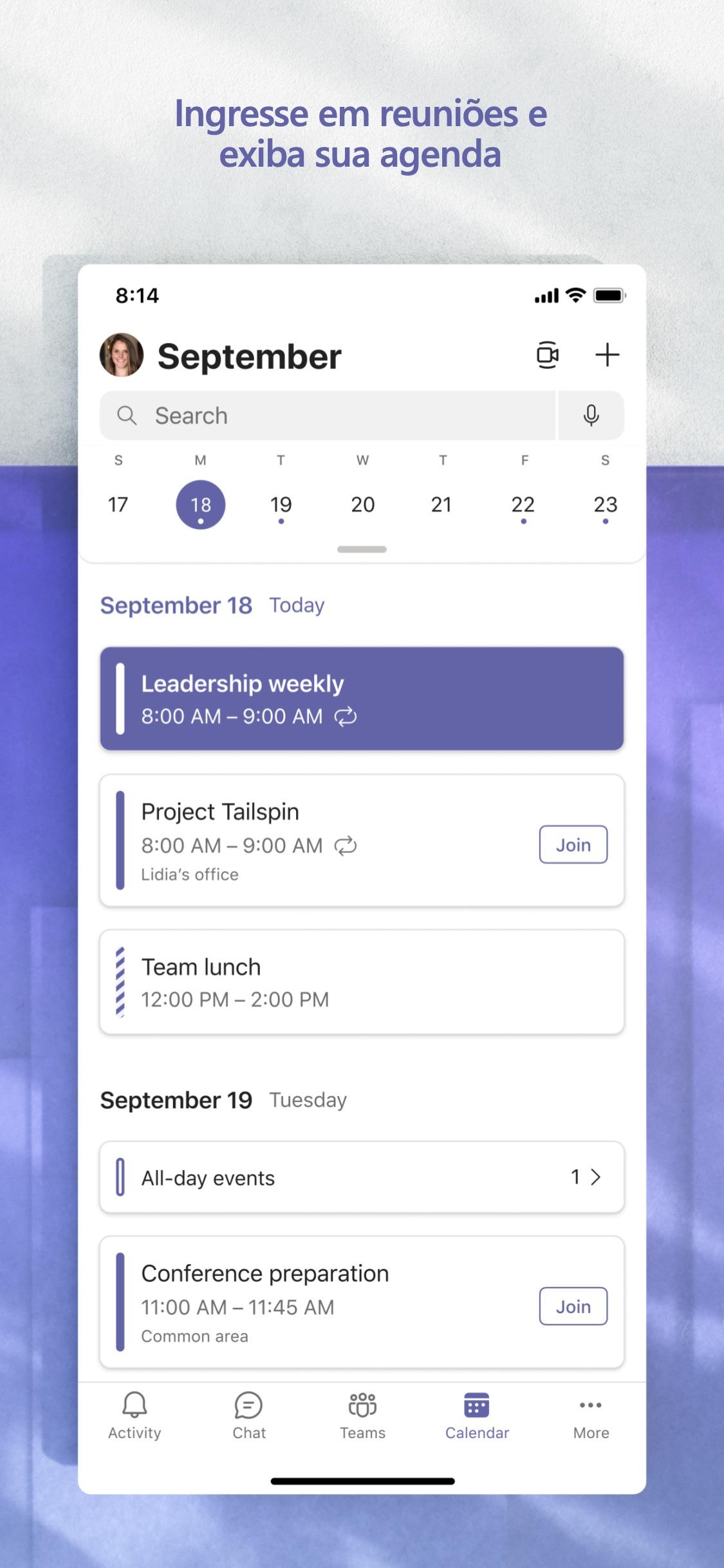 Screenshot do app Microsoft Teams