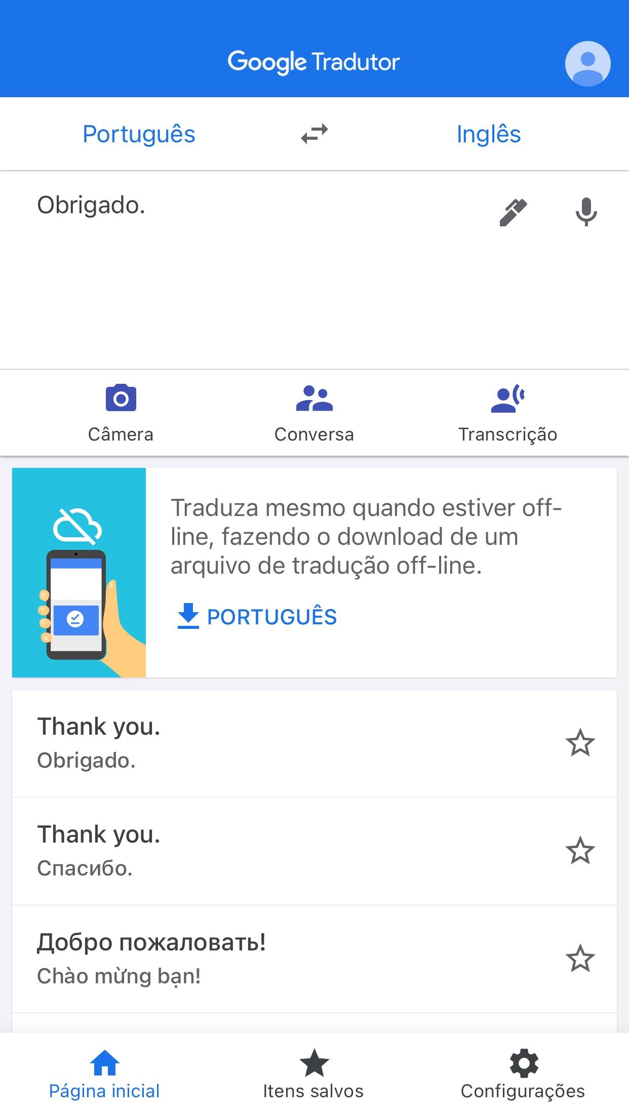 Screenshot do app Google Tradutor